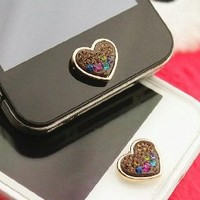 Brilliant Valentine Hearts Crystal Iphone Home Return Keys Buttons Sticker For iPhone 4S iPhone 5 iPod Touch iPad Repair Fix Replace Replacement