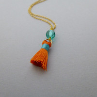 Tassel Charm Necklace Orange Tassel Necklace Orange Tassel Jewelry Gold Boho Bohemian Necklace Gold Boho Bohemian Jewelry Modern Accessories