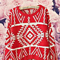 Geometry Sweater Red