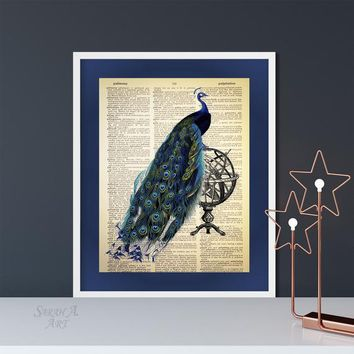 Peacock on a Armillary Sphere, Dictionary Art Print, Vintage, Antique, Upcycled, Book Page, Book Page, Unique Gift, Vintage Decor