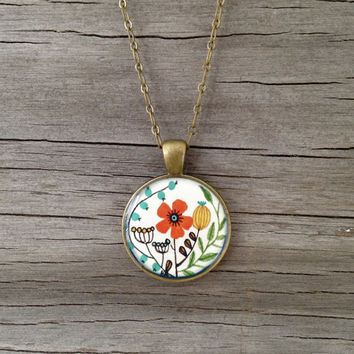 Valentine Gift, Hand Painted Necklace, Flower Garden - Inspired by Vintage Fabric, Original Watercolor Painting, Valentines Day