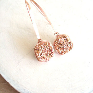Rose Gold Druzy Earrings Druzy dangles Drusy jewelry Pink gold Gift for her Under 75