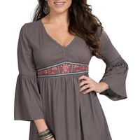 Flying Tomato Women's Grey Embroidered Peasant Dress