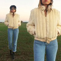 Vintage 1970's CROPPED Faux Fur Glam Bomber Jacket || Cream White || Size S