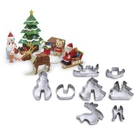 8 Pcs  Stainless Steel Cake Decoration Christmas Cookie Cutters Baking Tool Kitchen Gadgets Biscuit Mold 3D Christmas Scenario