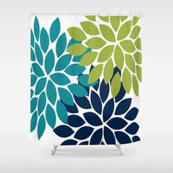 Bold Colorful Teal Green Navy Dahlia Flower Burst Petals Shower Curtain By TRM Design