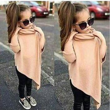 Khaki Plain Irregular Cowl Neck Fashion Pullover Children Sweatshirt
