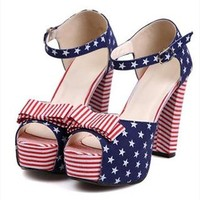 US Flag Print High Heel Sandals for Women NBSN061618 from topsales