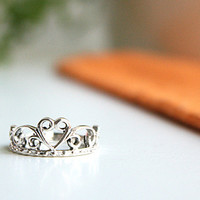 Heart Tiara Silver Ring Sterling Ring .925 Silver Ring Personalized Ring