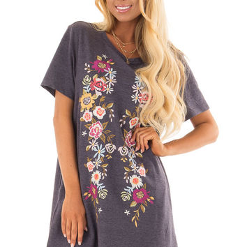Navy Short Sleeve Floral Embroidered Dress with Pockets