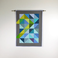 Blue Baby Quilt, Modern Crib Quilt, Blue, Green, Wall Hanging, Geometric, Triangles, Gray Baby Quilt