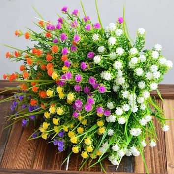 New 1 Branch Small Artificial Plants Grass Fake Floral Plastic Silk Eucalyptus Flowers For Hotel Wedding Table Decor