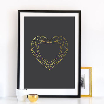 Gem Print, Wall Decor, Heart Print, Crystal Print, Crystal Poster, Geometric Print, Minimal Art, Modern Art, Gold Print, Gifts For Her.