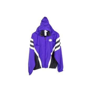 90s ADIDAS purple windbreaker jacket / vintage 1990s / parka / retractable hood / blac