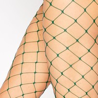 ASOS Oversized Fishnet Tights In Green at asos.com