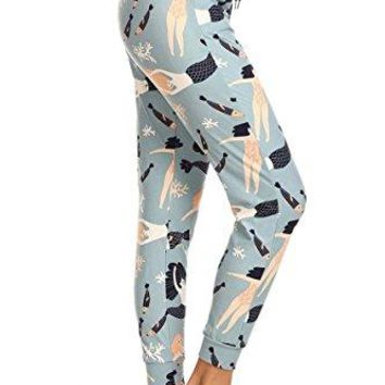 Leggings Depot Womens Printed and Solid Activewear Jogger Track Cuff Sweatpants Inner Pockets