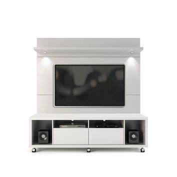 Manhattan Comfort Cabrini TV Stand and Floating Wall TV Panel with LED Lights 1.8