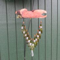 Upcycled wine bottle Wind Chime, Greenish Amber circle Chime, yard art, Garden Decor