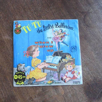 2 Rare Vintage Kids' 45s: TuTu Littl'st Ballerina + Katrina Toy Ballerina Vinyl Records w/ Kitsch Ballet Covers/Puppies/Cuteness
