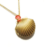 Golden Mermaid Locket made with Coral Pink Swarovski Crystal, Sea Shell Necklace, Beach Locket, Little Seashell, Nautical Jewelry, Gift Wrap