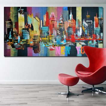 SELFLESSLY New York City Abstract Painting Canvas Poster Print For Living Room Wall Art Colorful City Decoration Quadros Unframe