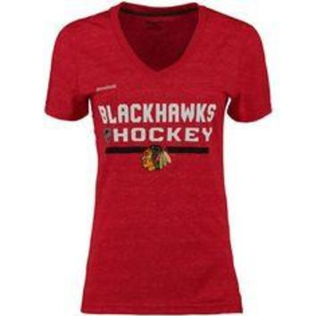 Womens Chicago Blackhawks Play Dry Ultimate V Neck Tee By Reebok