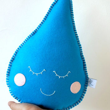 Cute Raindrop Pillow, sleepy raindrop, Droplet Softie, baby Nursery Decor, raindrop plushie
