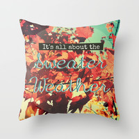 Sweater Weather Throw Pillow by RDelean