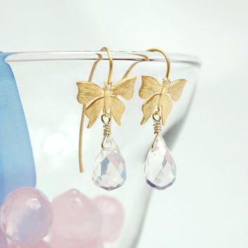 Bridal Golden Butterfly Earrings by Myvera on Etsy