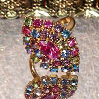 Vintage Adjustable Colorful Rainbow Pastel Ring in Gold Tone
