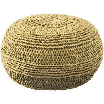 "Contemporary Mustard Pouf (14""x20"")"