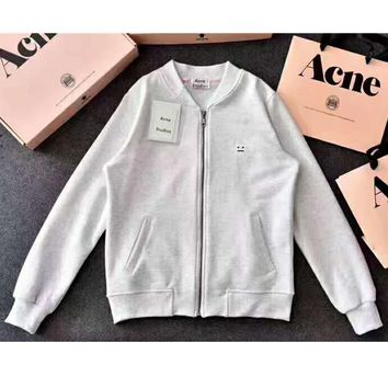 Acne Studios Women Men Fashion Long Sleeve Casual Sports Zipper Contracted Sweater G-JGYF