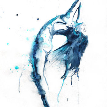 Original Watercolor Painting. Dancing ballerina. Ballet wall art.