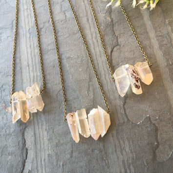 Rose Quartz Luster Bar Necklace // Natural Rose Quartz // Layering Necklace