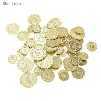 She Love 48pcs Plastic Pirate Theme Gold Coins Party Props Children's Toys Game Halloween Supplies