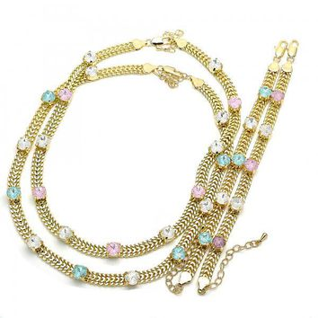 Gold Layered Necklace and Bracelet, with Cubic Zirconia, Golden Tone