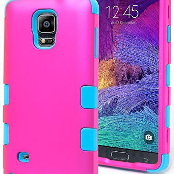 Samsung Galaxy Note 4 Hybrid Protective  Teal Cover  Hot Pink Case