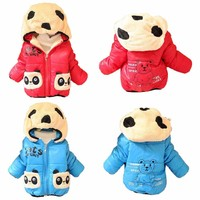 Warm Baby Winter Jackets Girl Boys Hoodies Fleece Animal Panda Coats Size 6-24m