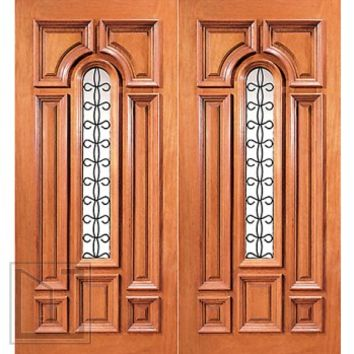 Prehung Mahogany Center Arch Lite Entry Double Door with Ironwork