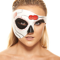 Kayso Day Of The Dead Rose Half Mask - White-black-red