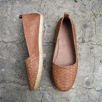 BASIC ESPADRILLES - Chocolate Tan Python Snakeskin Leather Shoes Espadrilles