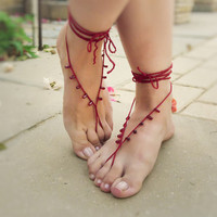 Beaded Barefoot Sandals. Sexy Croch.. on Luulla