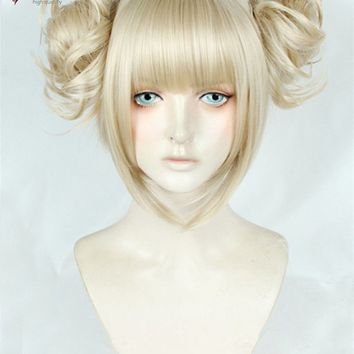 My Boku no Hero Academia Himiko Toga Short Linen Golden Blonde Ponytail Hair Cosplay Costume Wig + Track + Cap