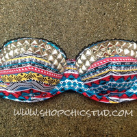 Studded Bustier Bra Top-  Multi-color Tribal Print - Silver- Gold - or-  Black Studs