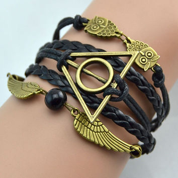 Harry Potter Black Wings Deathly Hallow Bracelet jewelry, great gift