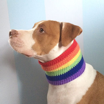 Rainbow Dog Scarf - Gay Pride Dog Clothing - Crochet Dog Clothes - Dog Neck Warmer - Dog Ear Warmer - Crochet Dog Snood - Winter Dog Cowl