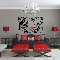 Woman character POP ART style Vinyl wall Decal sticker- red lips Roy Lichtenstein sexy lady  wall art deco