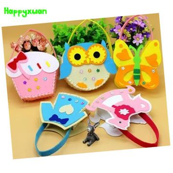 Happyxuan 5 designs/lot Make DIY Handmade Handbags Non-woven Felt Fabric Kit Kids Girl Art Crafts Educational Toys Children