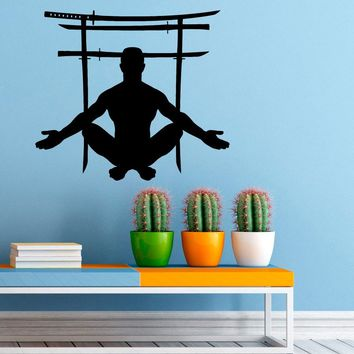 Japanese Swords Gate Wall Sticker Vinyl Decal Japanese Culture Home Interior Design Art Wall Murals Bedroom Decor Made in US