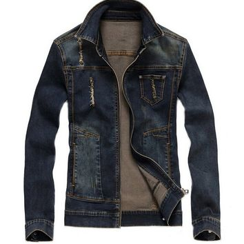 Men's Vintage Cool Casual Denim Jacket Slim Jeans Outwear